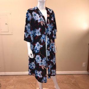Liz Claiborne Kimono Jacket Cover Up Long Floral